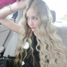 NEW Women Cosplay Long Light Blonde Curly Heat Resistant Wavy Hair Full Wig Wigs