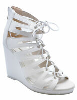 WOMENS WHITE LACE-UP SUMMER STRAPPY WEDGES SANDALS OPEN-TOE SHOES SIZES 3-8