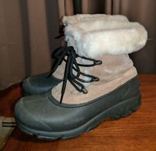 SOREL SNOW ANGEL WINTER BOOTS THINSULATE FAUX FUR LINED BROWN LADIES 8 M LEATHER