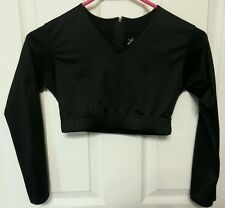 Alleson cheerleading black midriff size girls large long sleeve