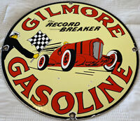 VINTAGE GILMORE THE RECORD BREAKER GASOLINE PORCELAIN SIGN GAS STATION MOTOR OIL