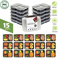 15 Meal Prep Containers 3 Compartment Food Storage Plastic Reusable Microwavable