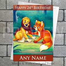 Fox and the Hound personalised birthday card. 5x7 inches. Disney.