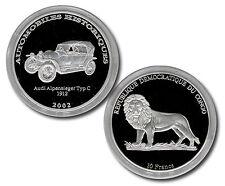 "10 Francs ""Legendäre Automobile - Audi Alpensieger"" Kongo 2002 (Ag 999) -2036-"