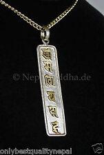 "Amulette Buddha Pendentif En Argent ""OM MA NI PE MOI AUGMENTATION"" Népal Mantra"