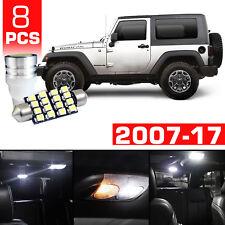 8 x White LED Interior Bulb  License Plate Lights For 2007-2017 Jeep Wrangler JK