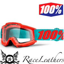 100% PORCENTAJE ACCURI PASSION Naranja Motocross motos Goggles Con Lente Claro