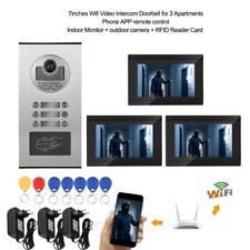 """KIT WIFI VIDEOCITOFONO TRIFAMILIARE TELECAMERA 3 MONITOR 7"""" RFID VIDEO CITOFONO"""