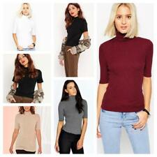 WOMEN LADIES POLO NECK SHORT SLEEVE TOP TURTLE NECK SHIRT PLUS SIZE