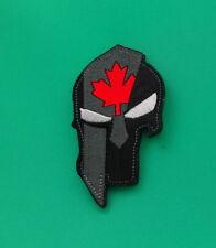 PUNISHER SPARTAN HELMET CANADA FLAG MORALE PATCH UNIFORM HOOK LOOP BACKING