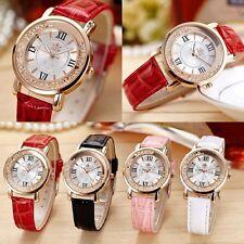 Mode Steinchen Armbanduhr Lederarmbanduhr Leder Uhr Armband Roségold Dame,Deko