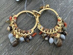 GAS BIJOUX Shell Charm Anastasia Earrings NEW Gold Plated