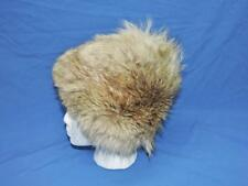 Vintage Alaska Womens S Coyote Fur Hat Black Satin Fabric Lined Winter