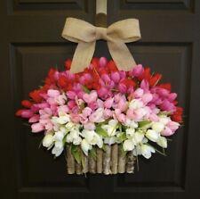 Wreath Spring Ombré Tulips In Birch Bark Vase