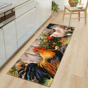 Sunflower Rooster Anti Fatigue Kitchen Mat Chicken Non-Slip Hallway Entrance Rug