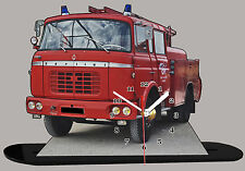 MODEL CARS, FIRE TRUCK BERLIET -07, Emergency Vehicle, 11,8x 7,8 inc  with Clock