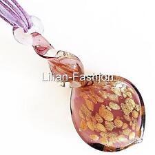 Gold Purple Swirl Lampwork Glass Murano Bead Pendant Ribbon Wax Cord Necklace
