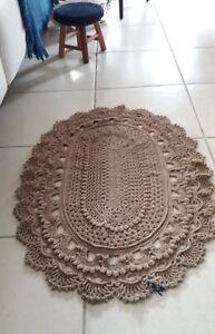 Handmade Crochet Rug - Color : Light Brown/Tan - Oval: 90cm x 65cm