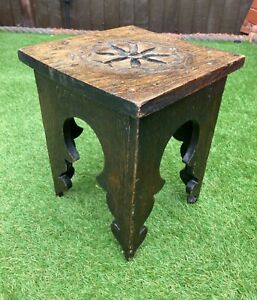 Antique Vintage Hand Carved Dark Oak Gothic Style Wooden Stool Milking Foot (E)