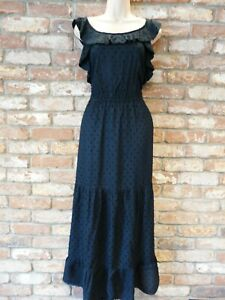 NEXT NEW Ladies tiered frill maxi dress black summer occasion party day dress 16