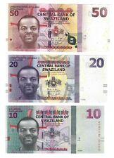 2010 2014 2015 SWAZILAND 10 - 20 - 50 Emalangeni Set, New UNC, P-36b, 38b NEW