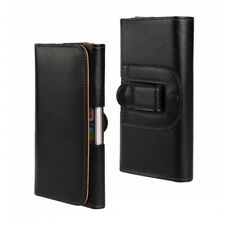 For iPhone 5 5S SE 5C Black Leather Belt Clip Case Cover Pouch Great for Tradies