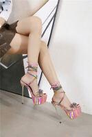 Women Strap Sandals Rhinestone Super High Heel Stiletto Platform Nightclub Shoes