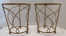 2 Florentine Gold Gilt ROPE TWIST METAL WASTE CANS Hollywood Regency Italy Tags