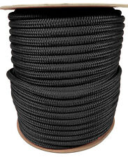 """ANCHOR ROPE DOCK LINE 3/8"""" X 350' DOUBLE BRAIDED 100% NYLON BLACK MADE IN USA"""