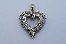 Lovely Heart Lady Pendant with 1.01 Ct Baguette & Round Cut Diamonds in 14K Gold