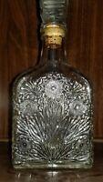 Vtg crystal glass decanter Floral design  Empty boubon whiskey bottle