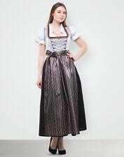 Dirndl Lang 3 tlg Set Gr 38 40 42 44 46 48 50 52 54  Braun Silber Schwarz Tracht