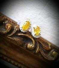 NEW Genuine Golden Yellow Sapphire, Bead Detail Halo, Sterling Stud Earrings