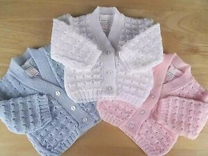 Baby Boy Girl White Blue Pink Knitted V-neck Cardigan Fancy Pattern 0-3-6m
