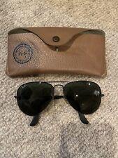 Antique Vintage Retro 1980s Black Ray Ban Aviator Sunglasses, Men's, Metal Frame
