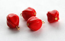VINTAGE 4 MOLDED CZECH GLASS NUGGET PENDANT BEADS 15x13mm OPAQUE CHERRY RED