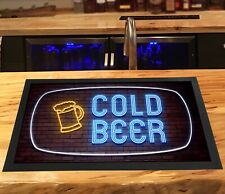 Cold Beer - Bar Runner Neon lights effect  - bar mat home bars & pubs