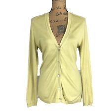 Chico's 2 M L Cardigan Silk Bl Knit Sweater Lime Green Hi Low Long Lightweight