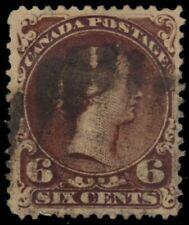 """CANADA 27 - Queen Victoria """"Large Queen"""" 1868 Dark Brown (pb17316) $200"""