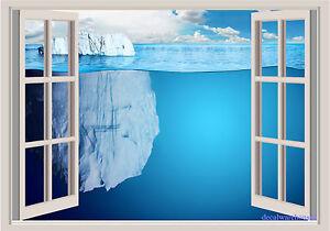 "Cool Glacier Depth Ocean Window View Repositionable Color Wall Sticker Mural 27"""