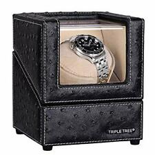 Super Quiet Motor, 4 Pu Leather Single Watch Winder for Automatic Watches, with