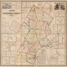 Map of Caledonia County VT c1858 map 24x24