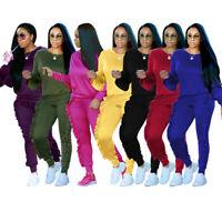 Women Ruffles Hoodies 2PCS Tracksuit Sweatshirt Tops Pants SportsWear Jogging B