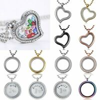 Fashion Living Memory Floating Charm Crystal Round Heart Locket Pendant Necklace