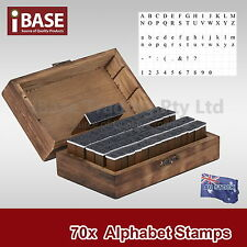 70 PCS SET NUMBER ALPHABET WOODEN BOX RUBBER STAMP LETTER CASE A-Z  MULTIPURPOSE
