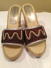 Gabriella Rochas NWOT High Wooden Heel Slip On Open Toe Brown Size 10M