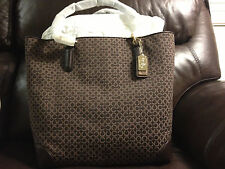 NWT Coach Madison OP Art Needlepoint North/South Tote F26277 Light Gold/Mahogany