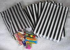 "100 Black & White Candy Stripe Paper Sweet Bags Wedding 5"" X 7"" Pick 'n' Mix Bag"
