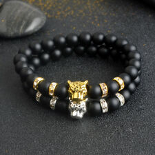 Lucky Charm Matte Black Natural Stone Beads Onyx Tiger Leopard Bracelets For Men