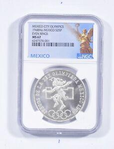 1968 MEXICO 25 Pesos Silver - Even Rings NGC MS67 *601